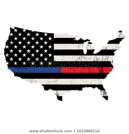 Rendőrség tűzoltó amerikai zászlók illusztráció szett Stock fotó © enterlinedesign