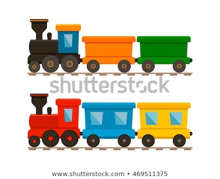 Houten trein speelgoed geïsoleerd witte verf Stockfoto © Melnyk