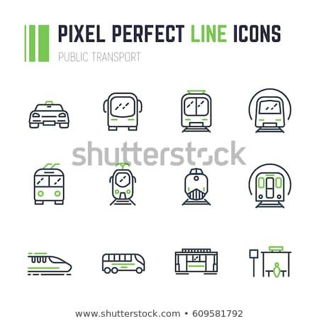 Tömegközlekedés egysínű vasút vektor vékony vonal ikon Stock fotó © pikepicture