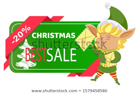 Elf with Letters, Christmas Sale and Price Off Stock photo © robuart