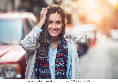 zonsondergang · portret · vrouw · outdoor · jonge · vrouw · bloem - stockfoto © val_th