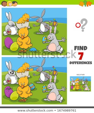 differences task with cartoon Easter characters Stock photo © izakowski