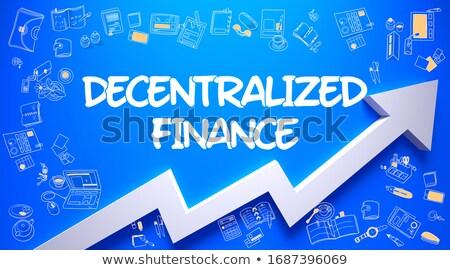 Decentralized Finance Drawn on Blue Surface. Stock photo © tashatuvango