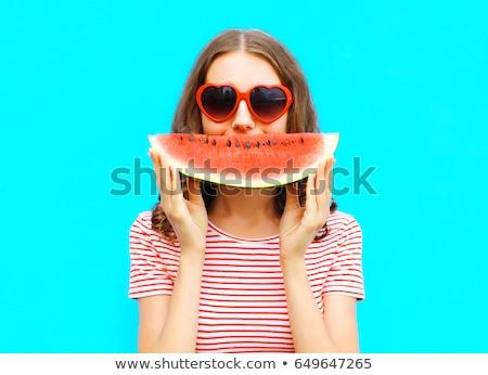 görögdinnye · lány · illusztráció · nő · ül · vmi · mellett - stock fotó © lenm