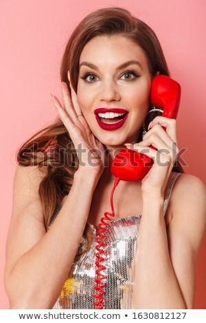 女性 明るい ドレス 話し 電話 画像 ストックフォト © deandrobot