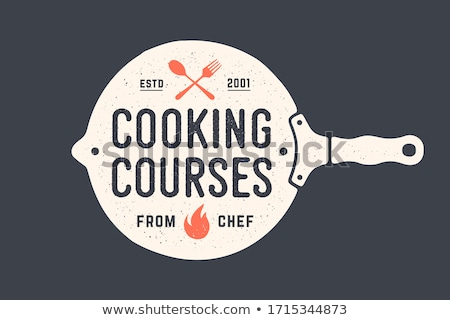 Kitchen frying pan. Logo for Cooking school Stock photo © FoxysGraphic