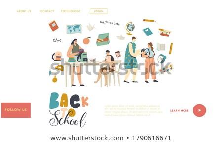 Dzieci obiad polu lądowanie strona kobieta interesu Zdjęcia stock © RAStudio