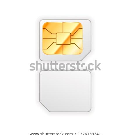 Ayarlamak mikro kart telefon altın parlak Stok fotoğraf © evgeny89