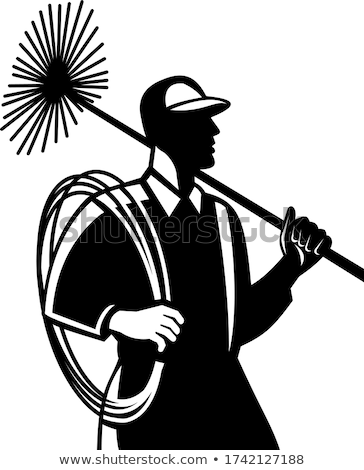 Chimney Sweep Holding Sweeper and Rope Side View Retro Black and White Stock photo © patrimonio
