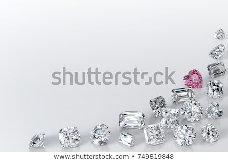diamond in shape of heart on glossy white background stock photo © oneo
