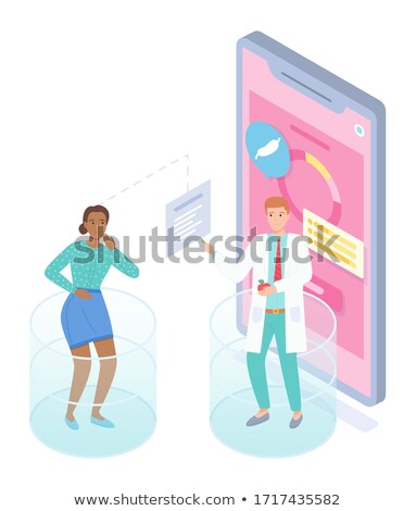 Isometric mobile app, woman patient have online consultation with doctor, physician Stock photo © robuart