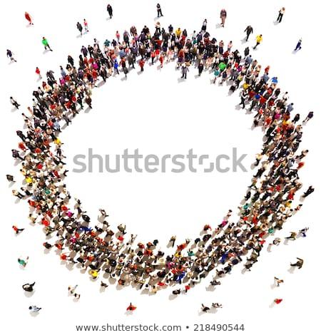 Mensen cirkel groep mensen permanente 3D objecten Stockfoto © timbrk