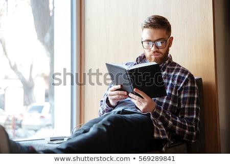 junger · Mann · Lesung · Buch · Bibliothek · Papier · Schule - stock foto © zurijeta