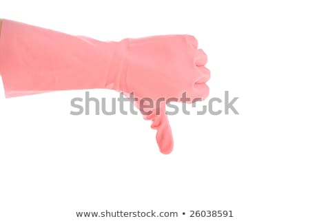 Thumbs down with a pink glove isolated on white Stock photo © Raduntsev