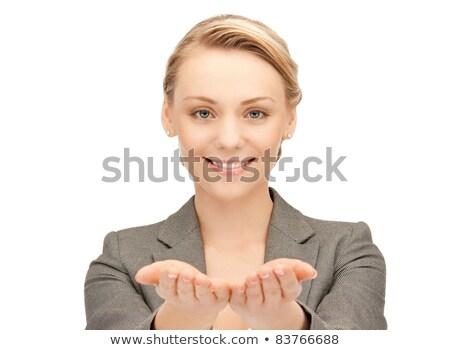радостный подростков женщину что-то белый Сток-фото © dundanim