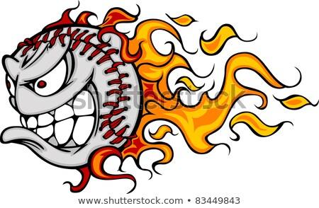 Stock foto: Flaming Baseball Or Softball Face Vector Cartoon