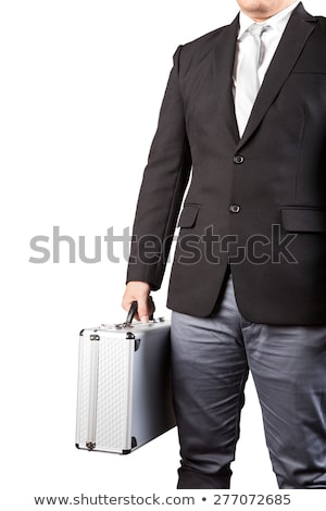 Stock photo: Portrait of young businessman holding metal safe