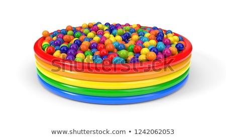 Citromsárga medence labda makró lövés űr Stock fotó © 350jb