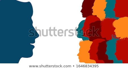 mujer · de · negocios · virtual · comunidad · grupo · de · personas · aislado · blanco - foto stock © vichie81