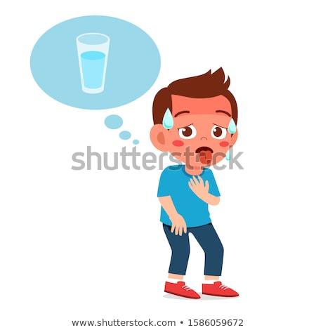 susuz · adam · içecekler · su · mutlu · içmek - stok fotoğraf © mammothis
