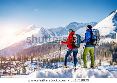 beautiful couple in winter scenery stock photo © konradbak