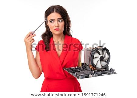 Reparação de computadores serviço sorrir beber café jovem Foto stock © photography33