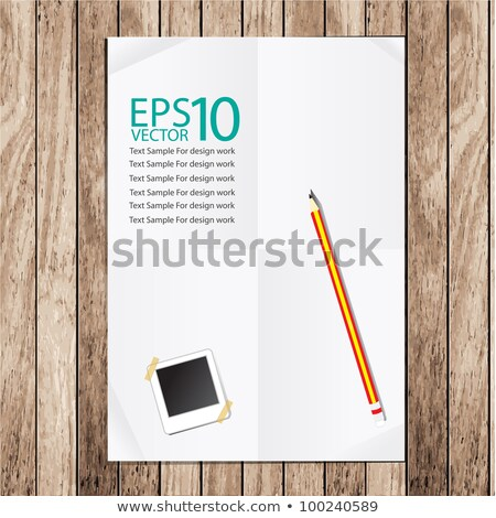 Vector sheet of folded white paper on a wood Stock photo © orson