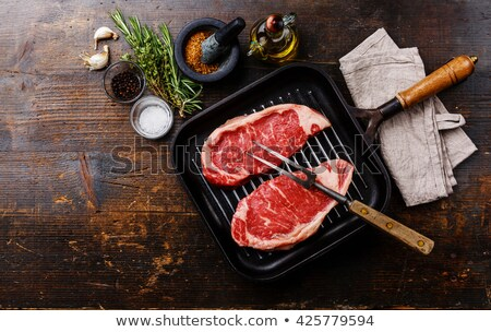 grill pan with raw meats Stock photo © M-studio