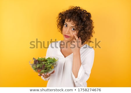 young woman is suspicious about the salad Stock photo © Rob_Stark