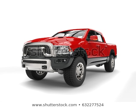 Pick-up truck red isolated on white stock photo © lkeskinen