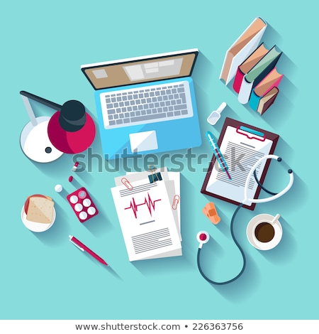 Laptop, books and medical stethoscope on the table. stock photo © justinb