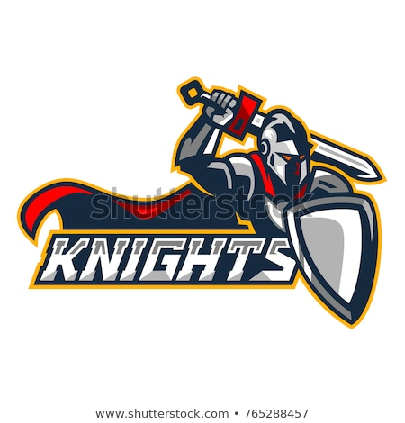 Сток-фото: Medieval Knight With Sword And Shield Vector Mascot