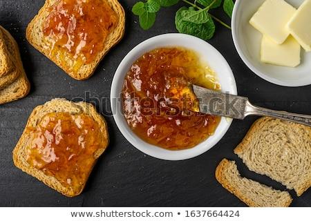 Lekvár gyümölcs reggeli diéta gabonapehely bogyó Stock fotó © M-studio