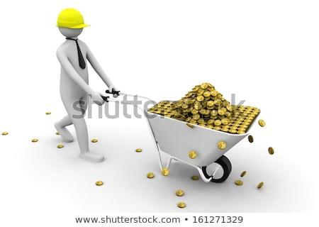 Gouden munt kruiwagen 3D business groei winst Stockfoto © 4designersart