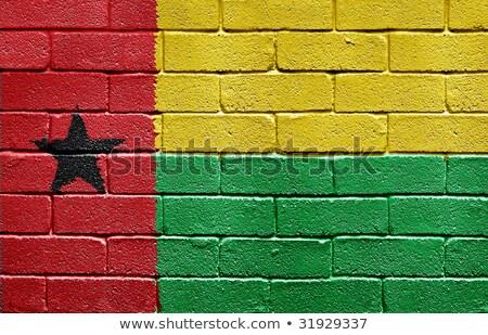 Foto stock: Bandeira · parede · de · tijolos · pintado · grunge · edifício · parede