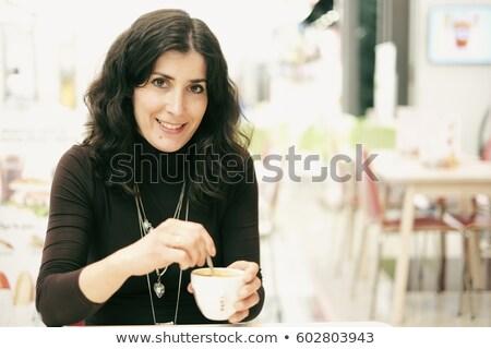 25 jaren oude vrouw donker haar textuur mode Stockfoto © photography33