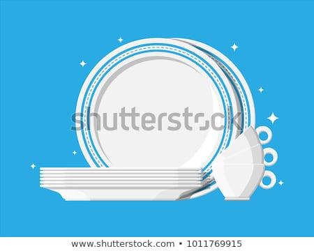 Seramik çatal bıçak takımı farklı beyaz siyah gıda Stok fotoğraf © Koufax73
