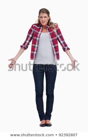 Młoda kobieta biały strony piękna stałego Zdjęcia stock © wavebreak_media
