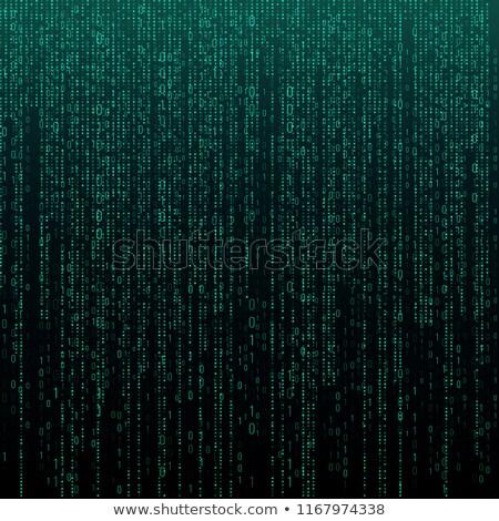 Green binary code on black background Stock photo © Zhukow
