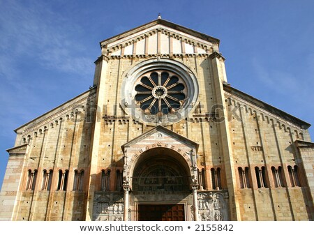 The facade of the catholic middle ages romanic cathedral iof San Stock photo © meinzahn