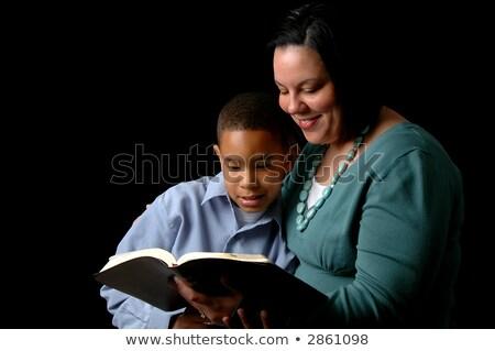 mãe · filho · leitura · bíblia · preto · família - foto stock © dacasdo