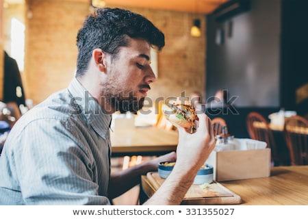 Foto stock: Empresario · comer · de · comida · rápida · estudio · blanco