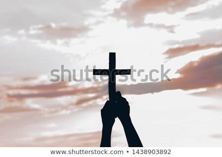 Yandan görünüş İsa Mesih çapraz adam Stok fotoğraf © zzve