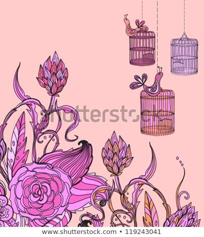 romantic hand drawn floral card wirh bird and cage stock photo © elmiko