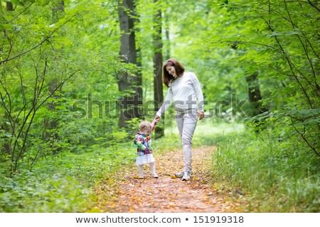 беременная женщина дочь красивой лес осень женщину Сток-фото © jarp17