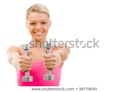 手 ピンク ダンベル 孤立した 白 ボディ ストックフォト © antonihalim