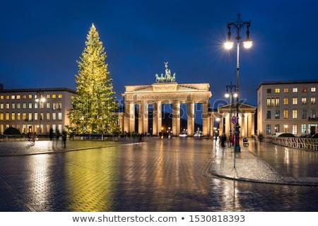 Brandenburgi kapu Berlin karácsony fa hó piac Stock fotó © almir1968