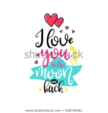 Szeretet kalligrafikus valentin nap főcím szöveg színes Stock fotó © bharat
