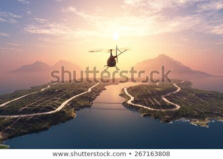 Helikopter zonsondergang ontwerp pistool oorlog planten Stockfoto © premiere