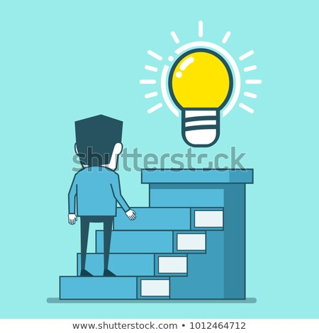 businessman standing on a stack of books to light bulb Stock photo © ratch0013